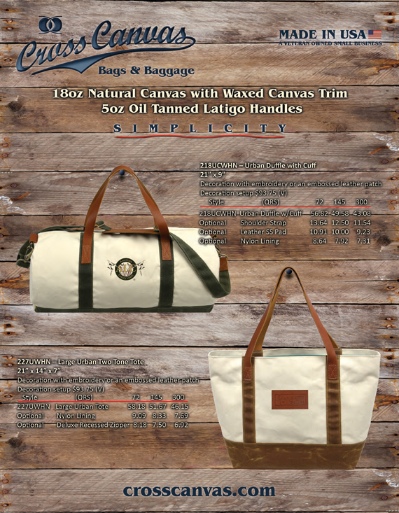 Cross Canvas Natural Canvas & Leather with Waxed Canvas Trim Catalog